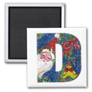 CHRISTMAS D LETTER / SANTA   RED RIBBON MONOGRAM SQUARE MAGNET
