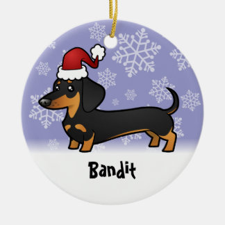 Christmas Dachshund (add your pets name) Round Ceramic Decoration