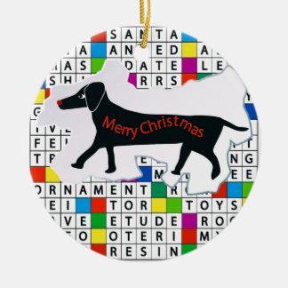Christmas Dachshund and Crossword Ceramic Ornament