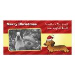 Christmas Dachshund (longhair) Customized Photo Card
