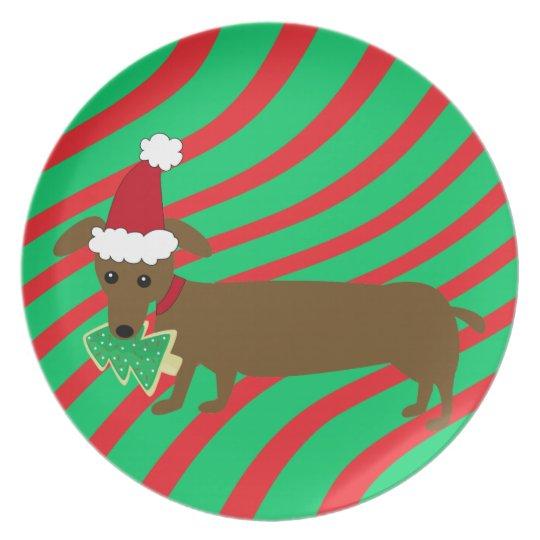 Christmas Dachshund Plate