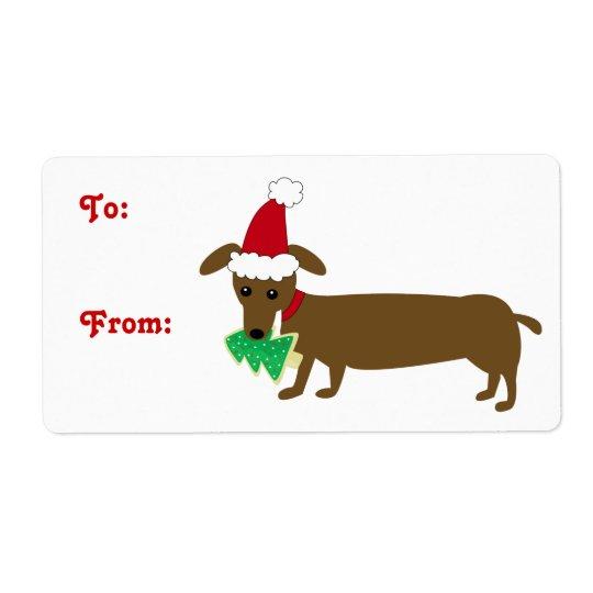 Christmas Dachshund Shipping Label