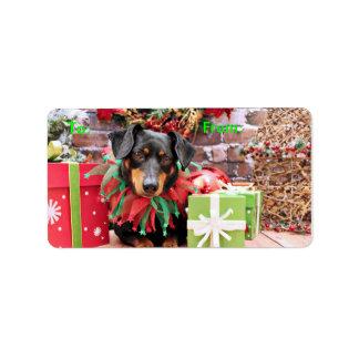 Christmas - Dachshund - Tanner Address Label