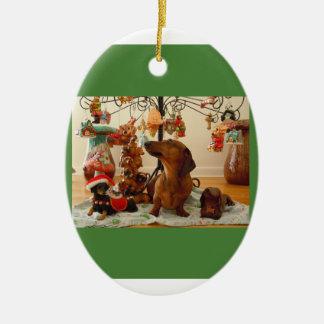 Christmas Dachshund (Ver.2) Ornament-Ceramic Oval Christmas Ornament