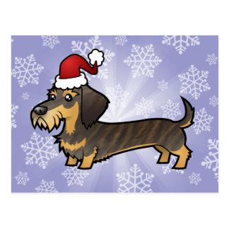 Christmas Dachshund (wirehair) Postcard