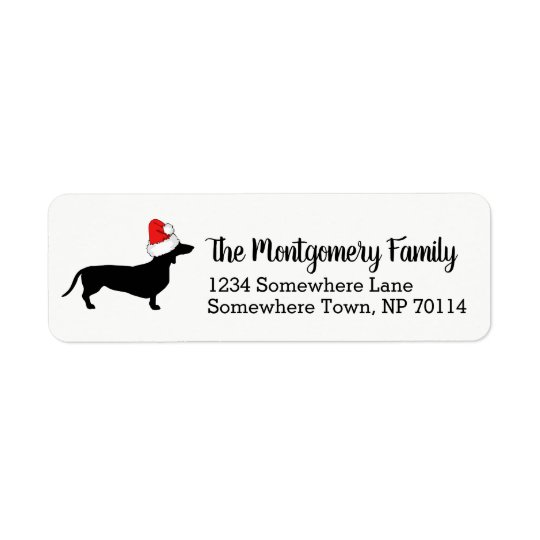 Christmas Dachshund with Santa Hat & Family Name