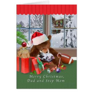 Christmas, Dad and Step Mom, Cat, Teddy Bear Greeting Card