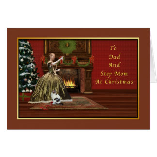 Christmas Dad and Step Mom Old Fashioned Greeting Card