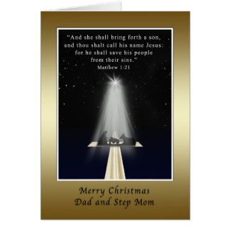 Christmas, Dad and Step Mom,  Religious Greeting Card
