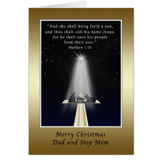 Christmas Dad and Step Mom Religious Cards