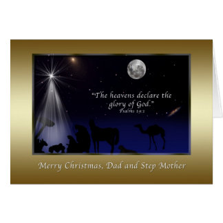 Christmas, Dad and Step Mother,  Nativity Greeting Card