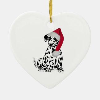 Christmas Dalmatian Ceramic Heart Decoration