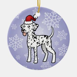 Christmas Dalmatian Round Ceramic Decoration