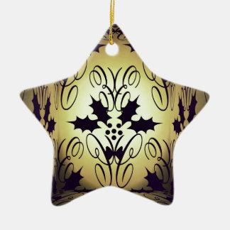 Christmas damask ceramic star decoration