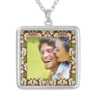 Christmas Damask/ Photo Square Pendant Necklace