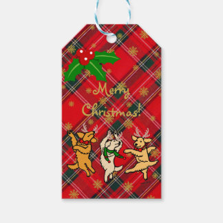 Christmas Dancing Golden Retrievers Gift Tags