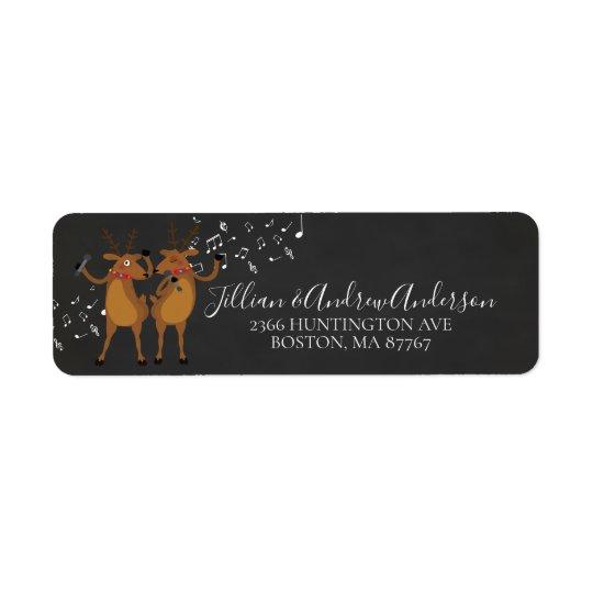 Christmas Dancing Reindeer Address Label