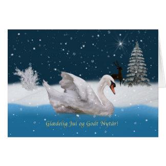Christmas, Danish Language, Snowy Night with Swan Greeting Card