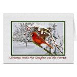 Christmas, Daughter and Partner, Cardinal Card