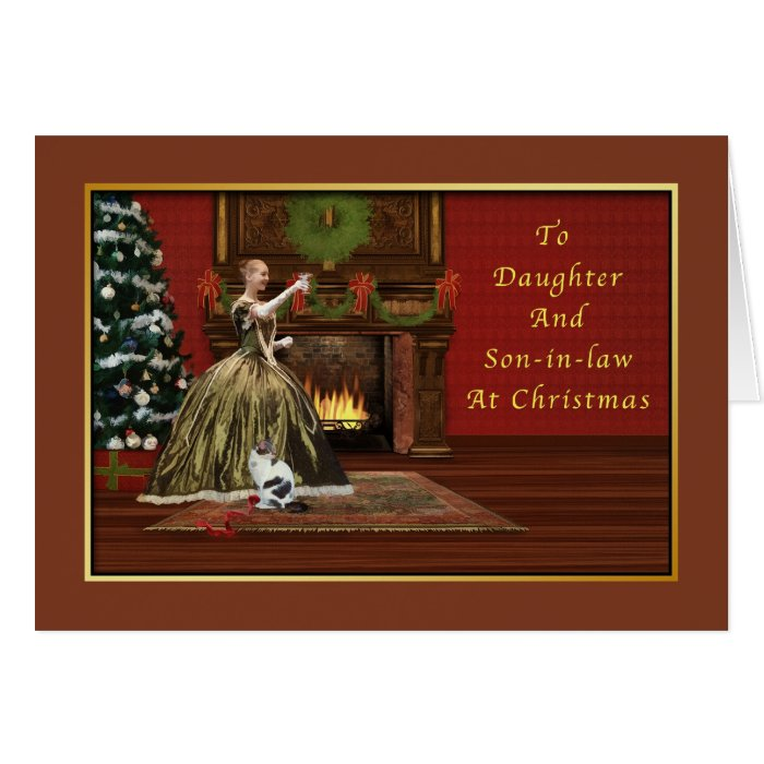 Christmas, Daughter and Son-in-law Old Fashioned Greeting Card