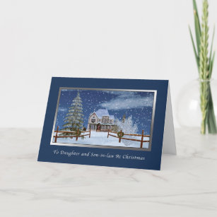 christmas daughter and son in law winter scene christmas card