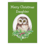 Christmas Daughter Cute Owl Bird Holly and PIne