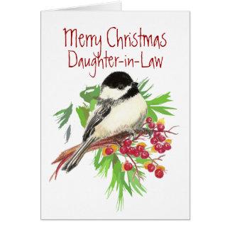 Christmas, Daughter-in-Law, Chickadee Bird,Garden Card