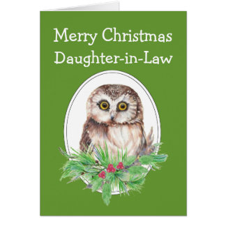 Christmas Daughter in Law Cute Owl Bird Holly PIne Cards