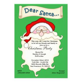 Christmas Dear Santa Wish List Invite Holiday