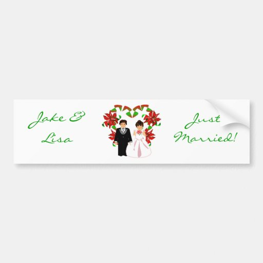 Christmas/December Just Married I Bumper Sticker Bumper Stickers