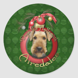 Christmas - Deck the Halls - Airedales Stickers