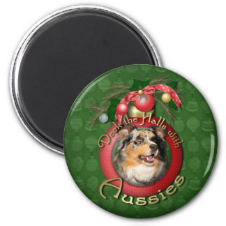 Christmas - Deck the Halls - Aussie - Gustine Refrigerator Magnets