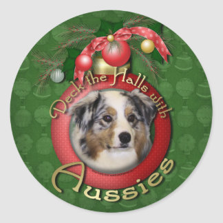 Christmas - Deck the Halls - Aussies Round Stickers