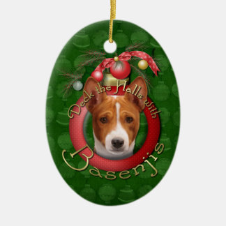 Christmas - Deck the Halls - Basenjis Ceramic Oval Decoration