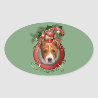 Christmas - Deck the Halls - Basenjis Sticker