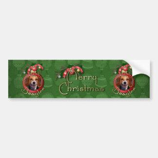 Christmas - Deck the Halls - Beagles Car Bumper Sticker
