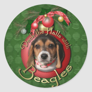 Christmas - Deck the Halls - Beagles Classic Round Sticker