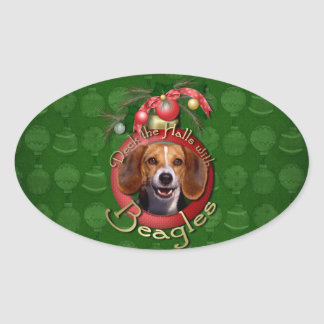 Christmas - Deck the Halls - Beagles Oval Sticker