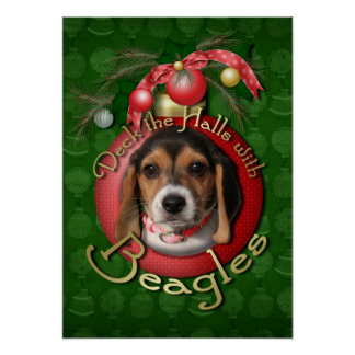 Christmas - Deck the Halls - Beagles Poster