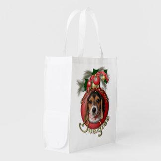 Christmas - Deck the Halls - Beagles Reusable Grocery Bag