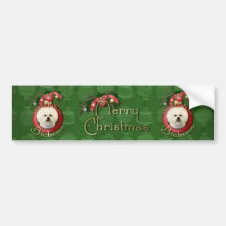 Christmas - Deck the Halls - Bichons Car Bumper Sticker