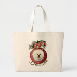 Christmas - Deck the Halls - Bichons Large Tote Bag
