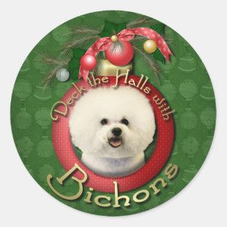 Christmas - Deck the Halls - Bichons Round Sticker