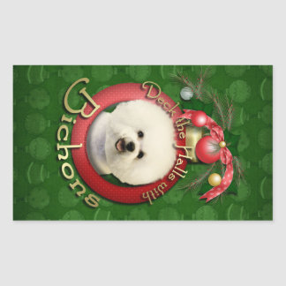 Christmas - Deck the Halls - Bichons Rectangular Sticker