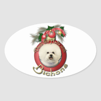 Christmas - Deck the Halls - Bichons Oval Stickers