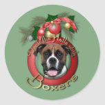 Christmas - Deck the Halls - Boxers - Vindy Round Sticker