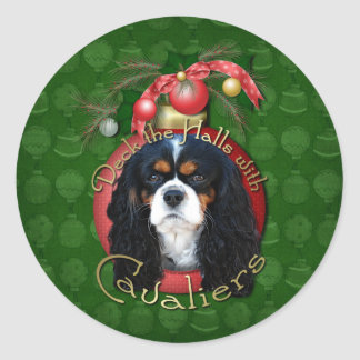 Christmas - Deck the Halls - Cavaliers - Tri-Color Classic Round Sticker