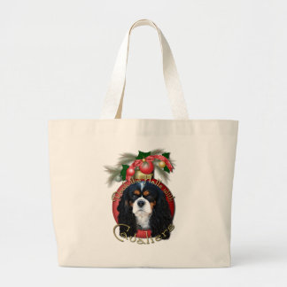 Christmas - Deck the Halls - Cavaliers - Tri-Color Large Tote Bag