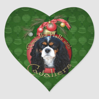 Christmas - Deck the Halls - Cavaliers - Tri-Color Heart Stickers