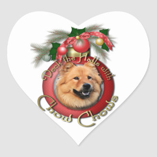 Christmas - Deck the Halls - Chows - Cinny Heart Sticker